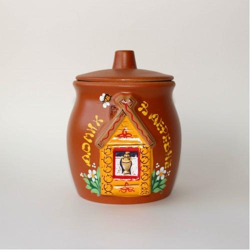 """Глиняный горшочек с мёдом """"Избушка"""", 0,65 л."""