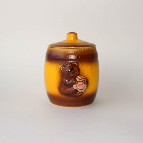 """Глиняный горшочек с мёдом """"Медведь"""", 0,35 л."""