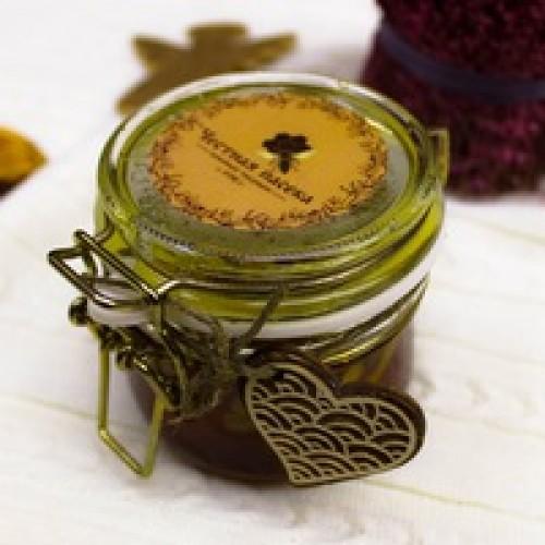 Мёд с грецкими орехами c сердечком, 0,25 л.